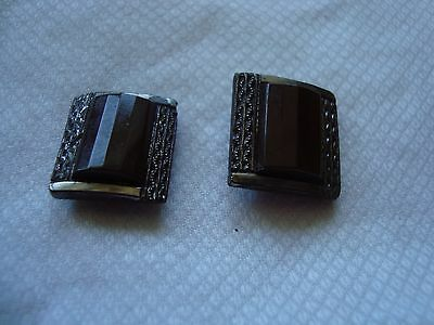 2 Vintage/Deco Brown Square  Glass Buttons