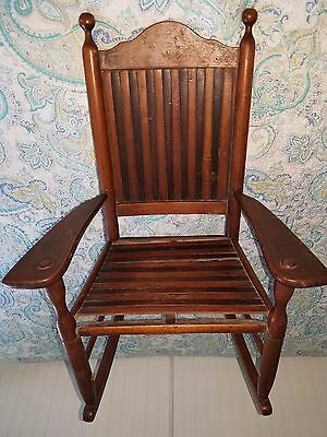 Antique 1890's/Early 1900's Era Wooden Children's Rocking Chair Two-Color W/ Sla