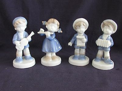 Vintage Porcelain Child Figurines Band, Made in Japan, Blue, White, Tan, 4 Piece