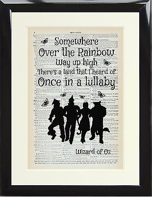 Dictionary Art Print Page Wizard of Oz Somewhere Over The Rainbow Gift Poster