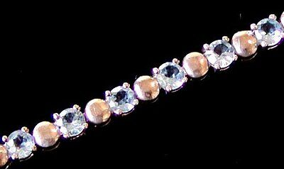 ESTATE BLUE TOPAZ STERLING SILVER TENNIS BRACELET 7 1/2 inch long from THAILAND