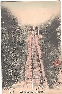 Vintage Postcard Hong Kong Peak Tramway Rails Carriages Lithograph