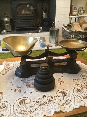 Carnigie And Clayton Birmingham VINTAGE KITCHEN SCALES AND 7 WEIGHTS