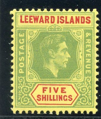 Leeward Islands 1951 KGVI 5s bright green & red/yellow (CH) superb MNH. SG 112c.