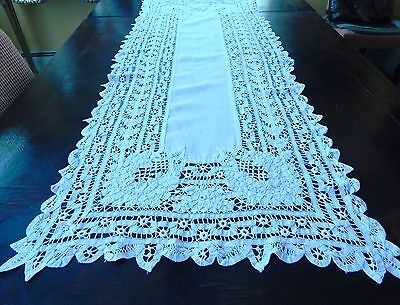 "Vintage Beautiful Fine Handmade Cotton Lace Runner 55"" long x 21"" wide."