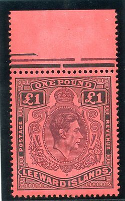 Leeward Islands 1948 KGVI £1 brown-purple & black/red (p14) MNH. SG 114. Sc 115a