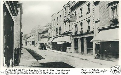 REAL PHOTO POSTCARD, OLD BROMLEY London Road and the Greyhound