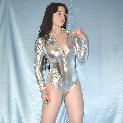 metallic silber LACKBODY* S 38  langarm Catsuit* wetlook GoGo Overall* Jumpsuit