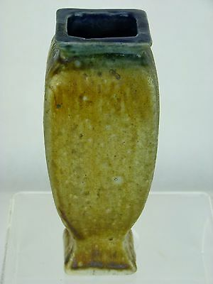 A Fine & Rare Martin Brothers Square Section Vase. Ochre into Blue Glaze.