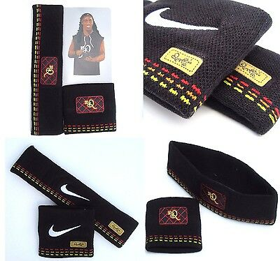 MENS NIKE RONALDINHO 10R Black Football Wristbands Headbands Head Wrist Band Set