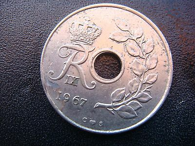 1967 Denmark 25 Ore Coin in Very Fine Grade