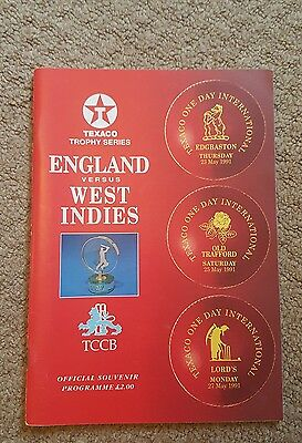 England v West Indies Texaco Trophy Programme 1991