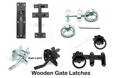 Wooden Garden Gate Latch - Suffolk Latch Plain/Twisted Ring & Auto Gate Catch