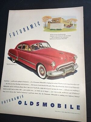 1940's Oldsmobile  Futuramic Auto Car Ad Original Vintage