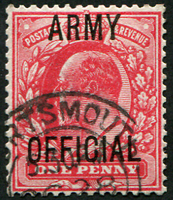 Army 1d SG 049 VARIETY, SPLAYED 'Y', VFU 'Portsmouth' CDS clear of variety. (Sp
