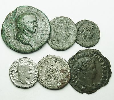 Interesting Selection Of Four Bronze & Two Silver Roman Coins (450U)