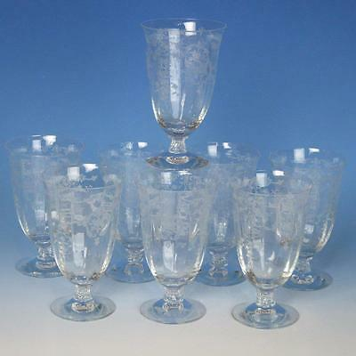 "Fostoria Glass - Navarre Etched Pattern - 8 Footed Tumblers - 5 3/8"" 10 ounce"