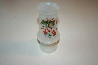 W08 Vintage Bristol Glass Vase Blown Hand-Painted Flowers White Frosted