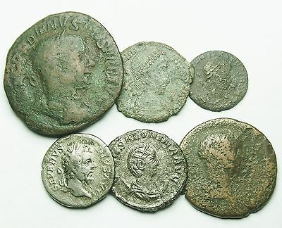 Interesting Selection Of Four Bronze & Two Silver Roman Coins (454U)