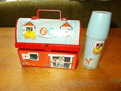 Vintage 1962 Fisher Price Barn Lunch Box with Thermos # 549 Toy Collectible Old
