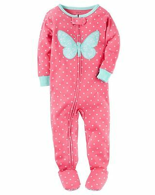 NWT Carter's Polka Dot With Floral Butterfly Footed Pajamas sz 4t