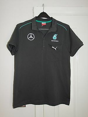 F1 Mercedes Benz Petronas PUMA Team Issue Polo Shirt Mens Medium Grey Jersey Top