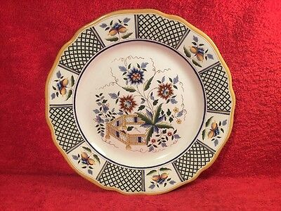 Large Antique Sarreguemines Faience Oriental Theme Platter c.1875-1900, ff618