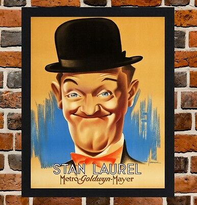 Framed Stan Laurel Movie / Film Poster A4 / A3 Size In Black / White Frame