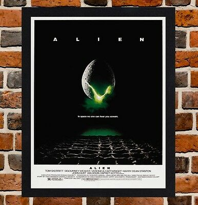 Framed Alien Movie Poster A4 / A3 Size In Black / White Frame (Version-3)