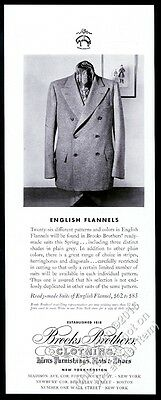 1938 Brooks Brothers men's English flannel suit photo vintage fashion print ad