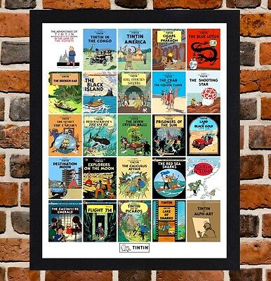 Framed The Adventures Of Tintin Book Poster A4  / A3 Size In Black / White Frame