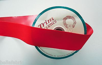"""Velvet Ribbon Spool Christmas Holiday Red Floral Craft Bow 6 1/2 y X 2 1/4"""" Wide"""