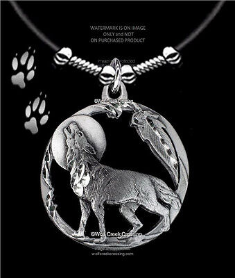 """Moon Shadow Wolf Necklace Male Or Female - Wolves Eagle Feather  Free Ship 24""""l"""