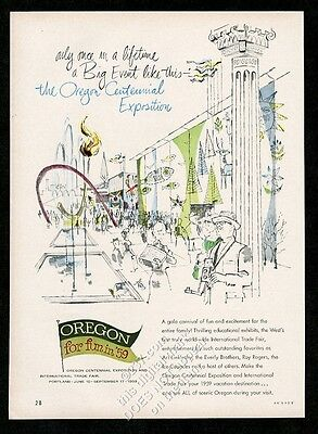 1959 Oregon travel Centennial Exposition art vintage print ad 2
