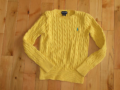 Girl's Ralph Lauren Yellow Cable Sweater Size 12-14