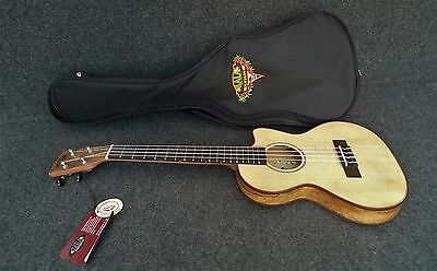 Kala Spalted Maple Thinline Travel Tenor Ukulele Spruce Top, Ka-Sstu-Smt-C