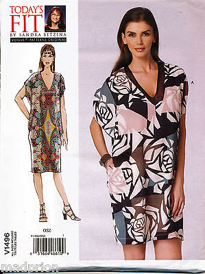 Vogue Sewing Pattern 1496 Misses 10-32 Loose-Fitting Cocoon Dress In Plus Sizes