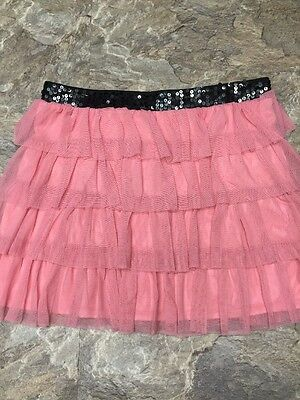 Candie's Sz L Girls Pink Ruffle Lace Mini Skirt Elastic Black Sequin Waistband