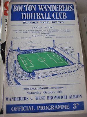 1960-61 Bolton Wanderers v West Bromwich Albion D1 8.10.1960