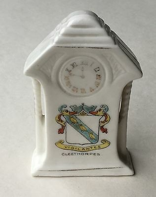 Crested Ware Bone China Antique Clock - Cleethorpes Crest