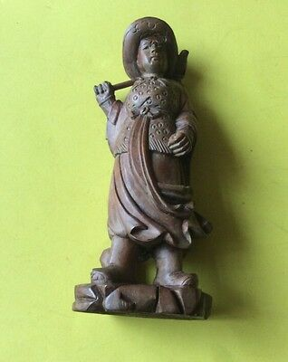 "Oriental Wooden Carved Figure. 6.5"" Tall - Small Split On The Base"