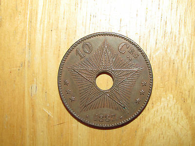 Congo Free State  1887 10 Centimes coin Extremely Fine nice only 40,000 minted