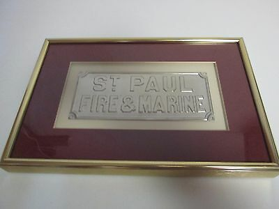 Framed Replica St. Paul Marine & Fire Metal Mark Plaque Insurance Company