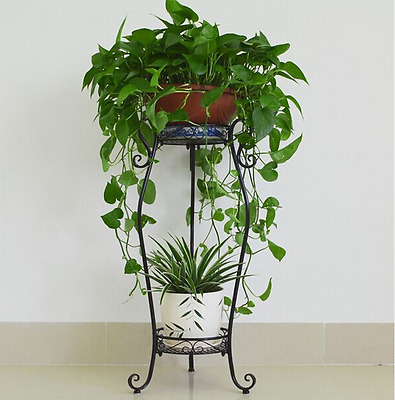 Large  Wrought Iron Two Flower Pot Tier Plant Stand  Patio 3 Legs Black