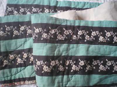 """A Pretty Panel Of an Antique Patchwork Quilt 56"""" Long x 7"""" Wide."""