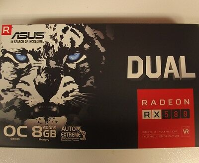 New Asus Dual Radeon RX580 RX 580 8GB Video Card ETHEREUM MINING In Stock
