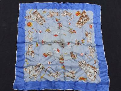 Vintage SILK SCARF~DOGS~PLAYFUL PUPPIES~HAND ROLLED