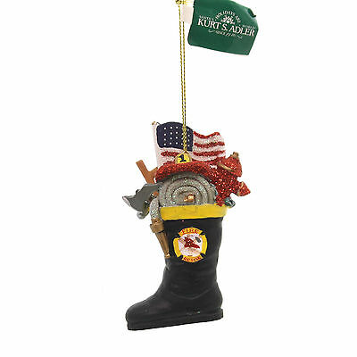 Holiday Ornaments FIREMAN BOOT Polyresin Flag Hose Cap J7145