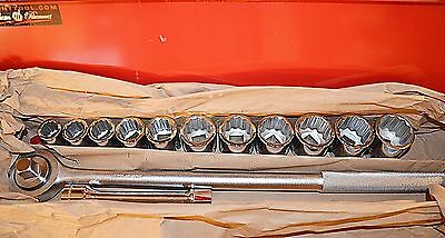 """13 piece Wright Made in USA 3/4"""" drive SAE socket set With Ratchet & Box"""
