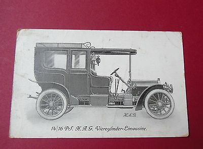 *** rare ***  ancienne CP  1908  14/16 PS. H.A.G. Viercylinder -  limousine